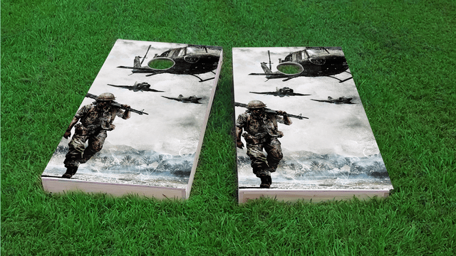 Marching Troops Themed Custom Cornhole Board Design
