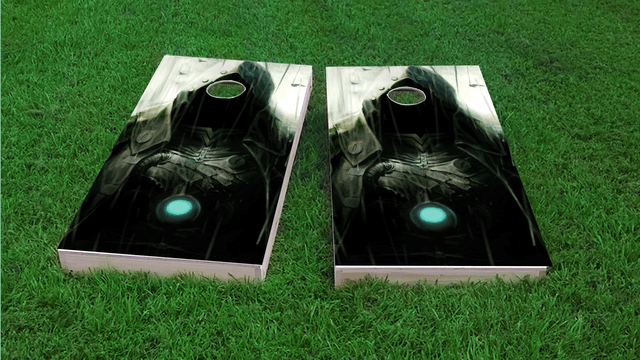 Hooded Villian Themed Custom Cornhole Board Design