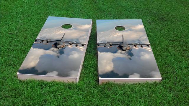 AC130 Flares Themed Custom Cornhole Board Design