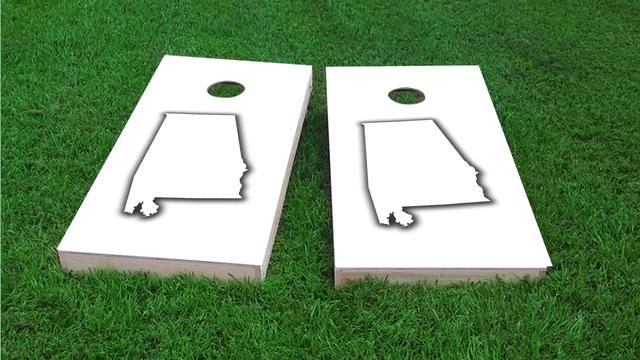 Alabama White Themed Custom Cornhole Board Design