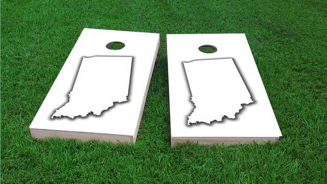 White Indiana Themed Custom Cornhole Board Design