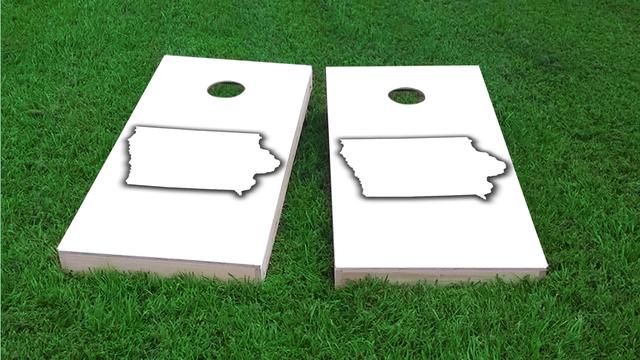 White Iowa Themed Custom Cornhole Board Design