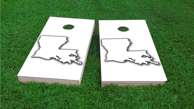 White Louisiana Themed Custom Cornhole Board Design