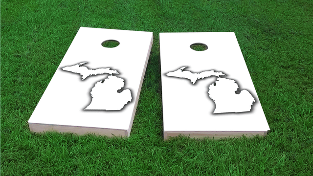 White Michigan Themed Custom Cornhole Board Design