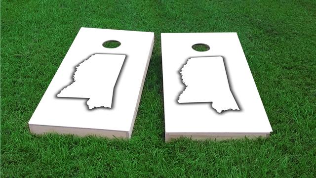 White Mississippi Themed Custom Cornhole Board Design