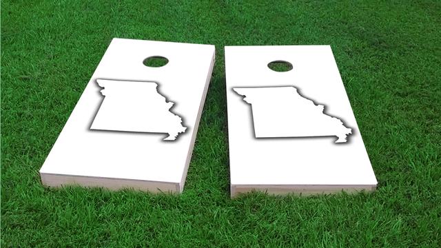 White Missouri Themed Custom Cornhole Board Design