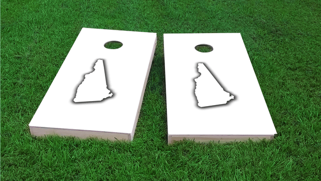 White New Hampshire Themed Custom Cornhole Board Design