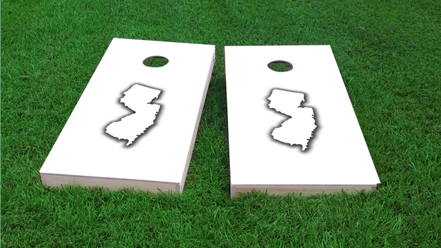 White New Jersey Themed Custom Cornhole Board Design
