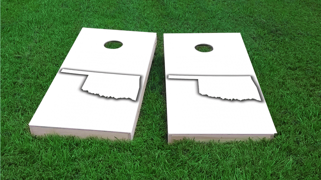 White Oklahoma Themed Custom Cornhole Board Design