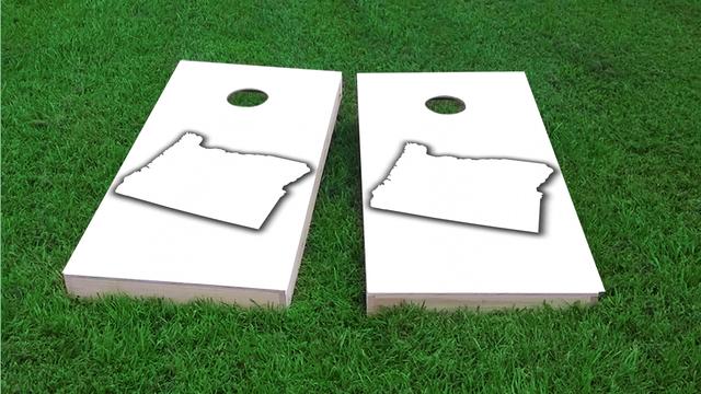 White Oregona Themed Custom Cornhole Board Design