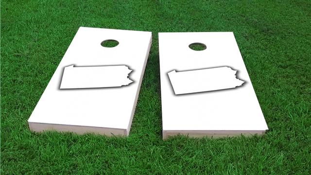 White Pennylvania Themed Custom Cornhole Board Design