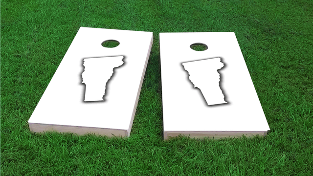 White Vermont Themed Custom Cornhole Board Design
