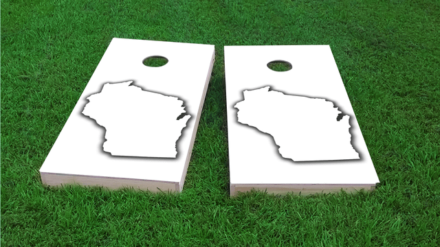 White Wisconsin Themed Custom Cornhole Board Design