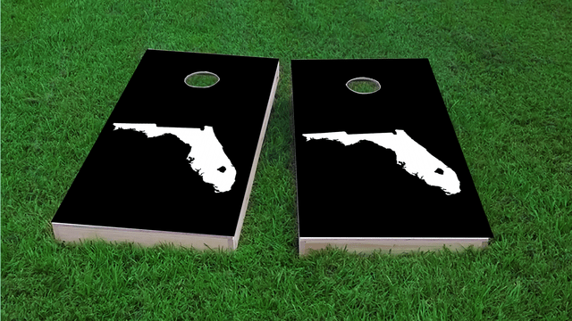 Black Florida Themed Custom Cornhole Board Design