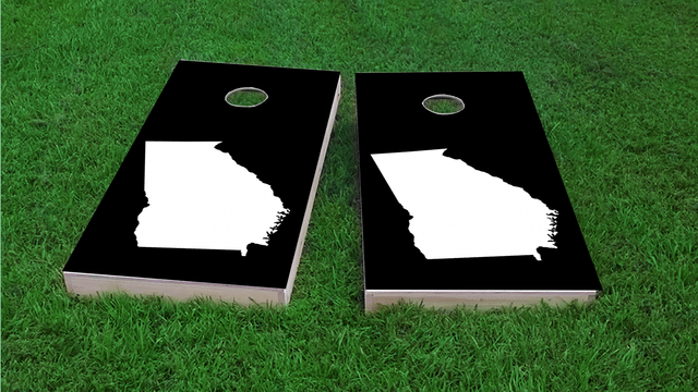 Black Georgia Themed Custom Cornhole Board Design