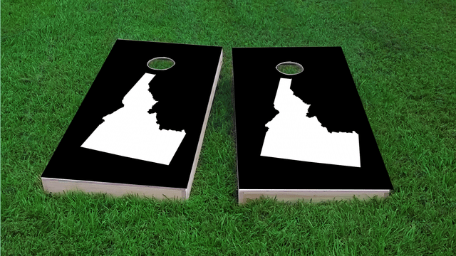 Black Idaho Themed Custom Cornhole Board Design