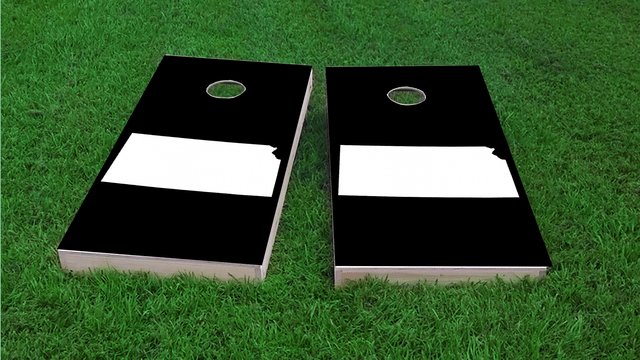 Black Kansas Themed Custom Cornhole Board Design