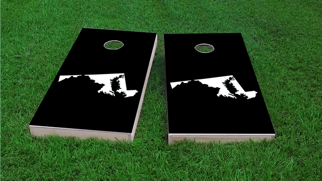 Black Maryland Themed Custom Cornhole Board Design