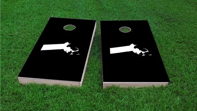 Black Massachusetts Themed Custom Cornhole Board Design