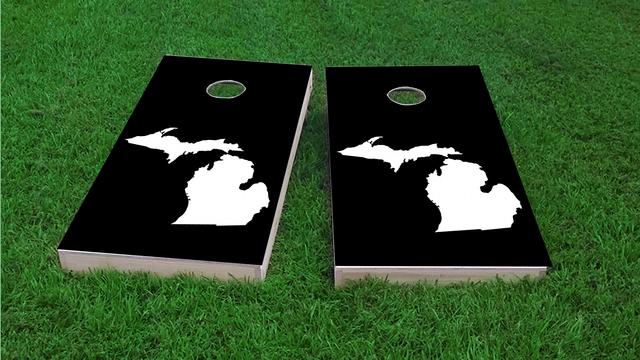 Black Michigan Themed Custom Cornhole Board Design