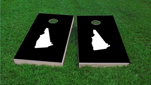 Black New Hampshire Themed Custom Cornhole Board Design
