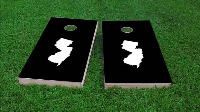 Black New Jersey Themed Custom Cornhole Board Design