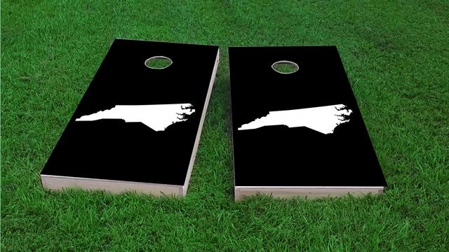 Black North Carolina Themed Custom Cornhole Board Design
