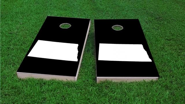 Black North Dakot Themed Custom Cornhole Board Design