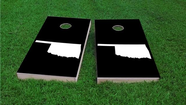 Black Oklahoma Themed Custom Cornhole Board Design