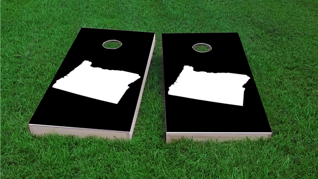 Black Oregon Themed Custom Cornhole Board Design