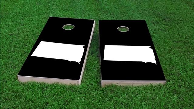 Black South Dakota Themed Custom Cornhole Board Design