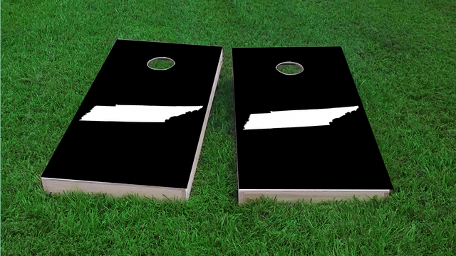 Black Tennessee Themed Custom Cornhole Board Design