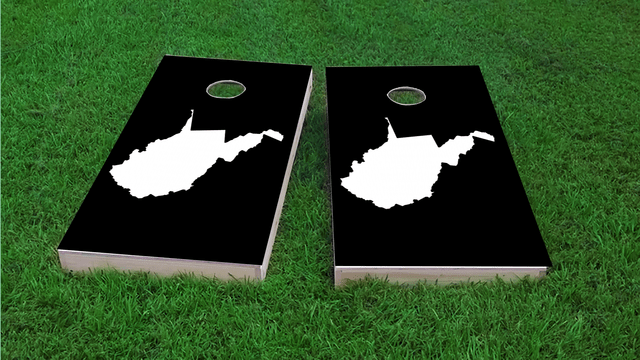 Black West Virginia Themed Custom Cornhole Board Design