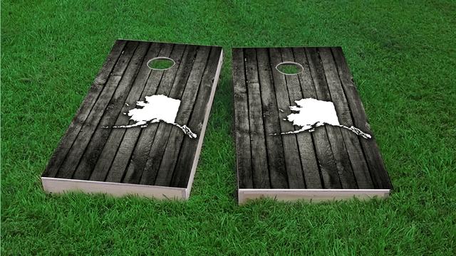 Wood Slat (Alaska) Themed Custom Cornhole Board Design