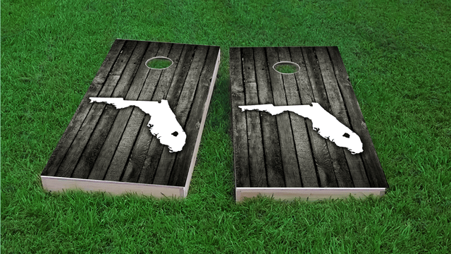 Wood Slat (Florida) Themed Custom Cornhole Board Design