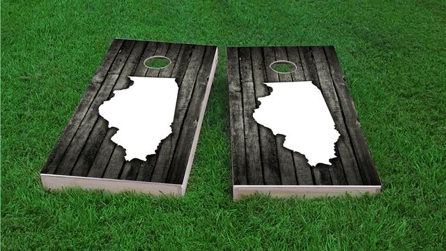 Wood Slat (Illinois) Themed Custom Cornhole Board Design