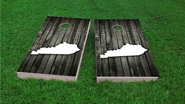Wood Slat State (Kentucky) Themed Custom Cornhole Board Design