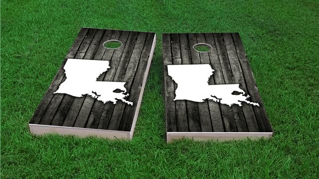 Wood Slat State (Louisiana) Themed Custom Cornhole Board Design