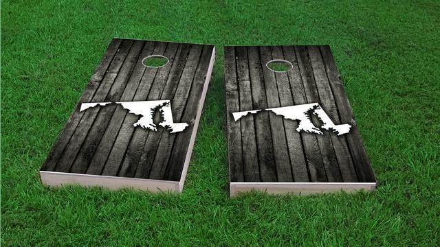 Wood Slat State (Maryland) Themed Custom Cornhole Board Design