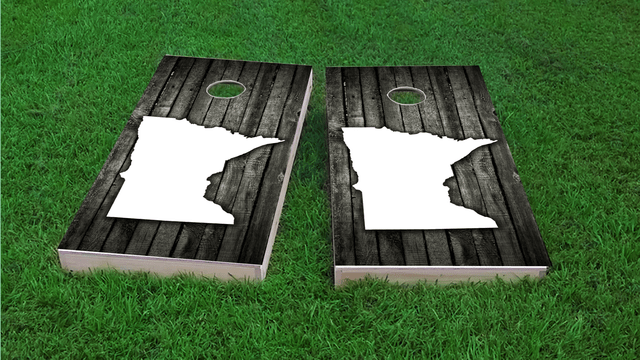 Wood Slat State (Minnesota) Themed Custom Cornhole Board Design
