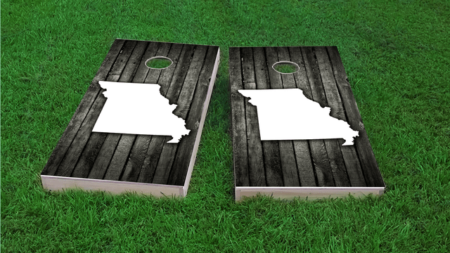 Wood Slat State (Missouri) Themed Custom Cornhole Board Design