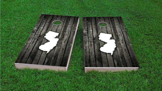Wood Slat State (New Jersey) Themed Custom Cornhole Board Design
