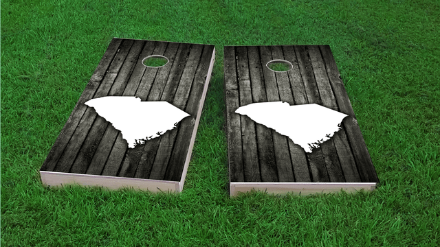 Wood Slat State (South Carolina) Themed Custom Cornhole Board Design