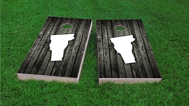 Wood Slat State (Vermont) Themed Custom Cornhole Board Design