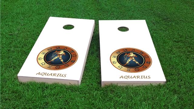 Zodiac White (Aquarius) Themed Custom Cornhole Board Design
