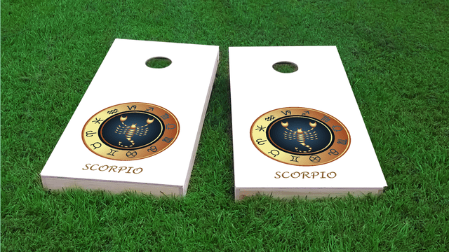 Zodiac White (Scorpio) Themed Custom Cornhole Board Design
