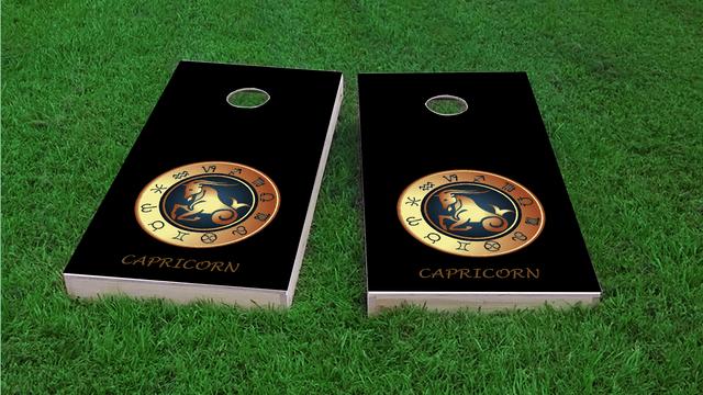 Zodiac Black (Capricorn) Themed Custom Cornhole Board Design