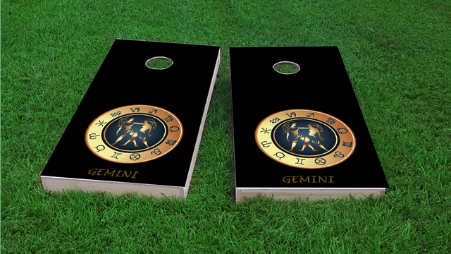 Zodiac Black (Gemini) Themed Custom Cornhole Board Design