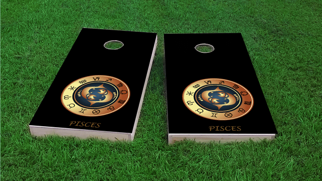 Zodiac Black (Pisces) Themed Custom Cornhole Board Design