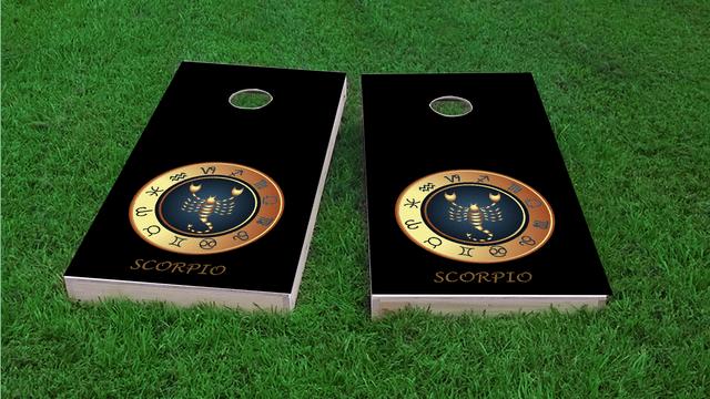 Zodiac Black (Scorpio) Themed Custom Cornhole Board Design